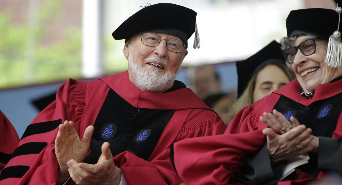 Mandatory Credit: Photo by AP/REX/Shutterstock (8841800c) John Williams, Sandra Gilbert Composer John Williams, left, applauds along with literary critic, author, and feminist Sandra Gilbert, right, during Harvard University commencement exercises, in Cambridge, Mass. Williams received an honorary Doctor of Music degree, while Gilbert received an honorary Doctor of Laws degree Thursday Harvard Commencement, Cambridge, USA - 25 May 2017